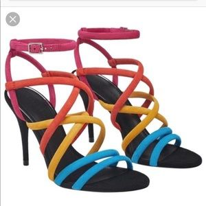 Zara Multi Color Rainbow Suede Sandals NWT Sz 6